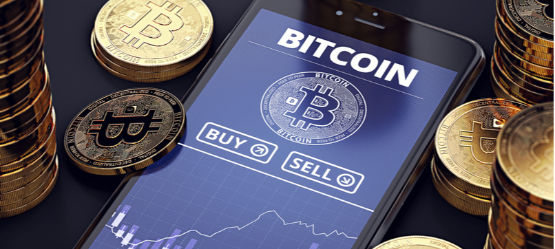 image of a phone with buy and sell bitcoins options